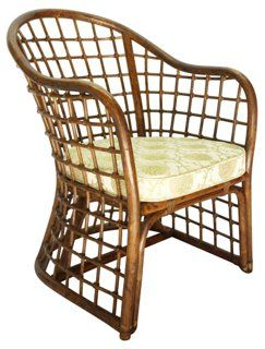 Beau Consigned Chinoiserie Fretwork Bamboo Chair   An Intricately Tied Bent  Bamboo Chinoiserie Fretwork Armchair With New Upholstery.