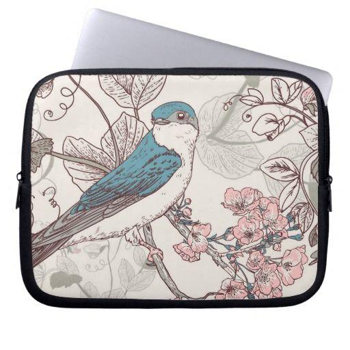 Hand drawn bird vintage illustration #laptop #sleeve #laptopsleeve