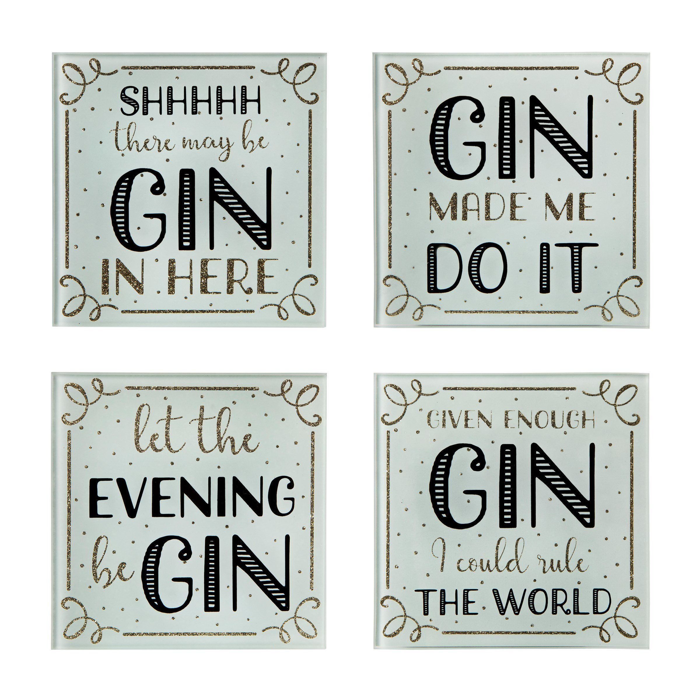 Set Of 4 Gin Time Coasters Gin Quotes Gin Coasters