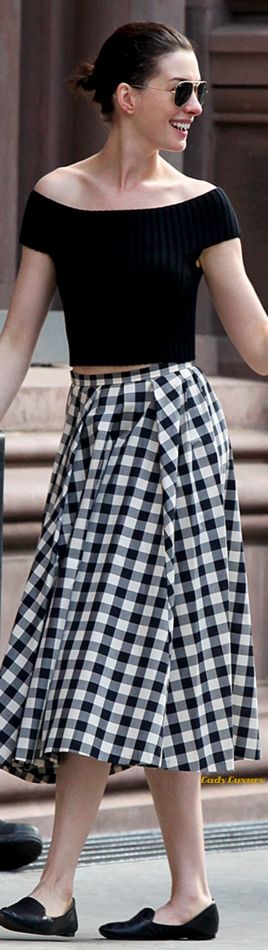 Chic In The City- ANNE HATHAWAY. Black merino sweater and black and muslin gingham cotton skirt, both from the Spring MK 2015 Collection | LadyLuxuryDesigns
