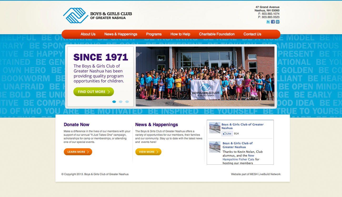 Boys & Girls Club of Greater Nashua #MESH_LiveBuild #Nashua #website