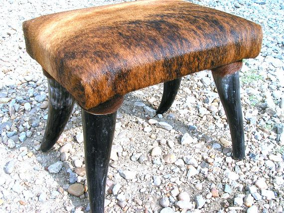 Pleasant Cowhide Furniture Horn Leg Footstool Western Decor Steer Alphanode Cool Chair Designs And Ideas Alphanodeonline