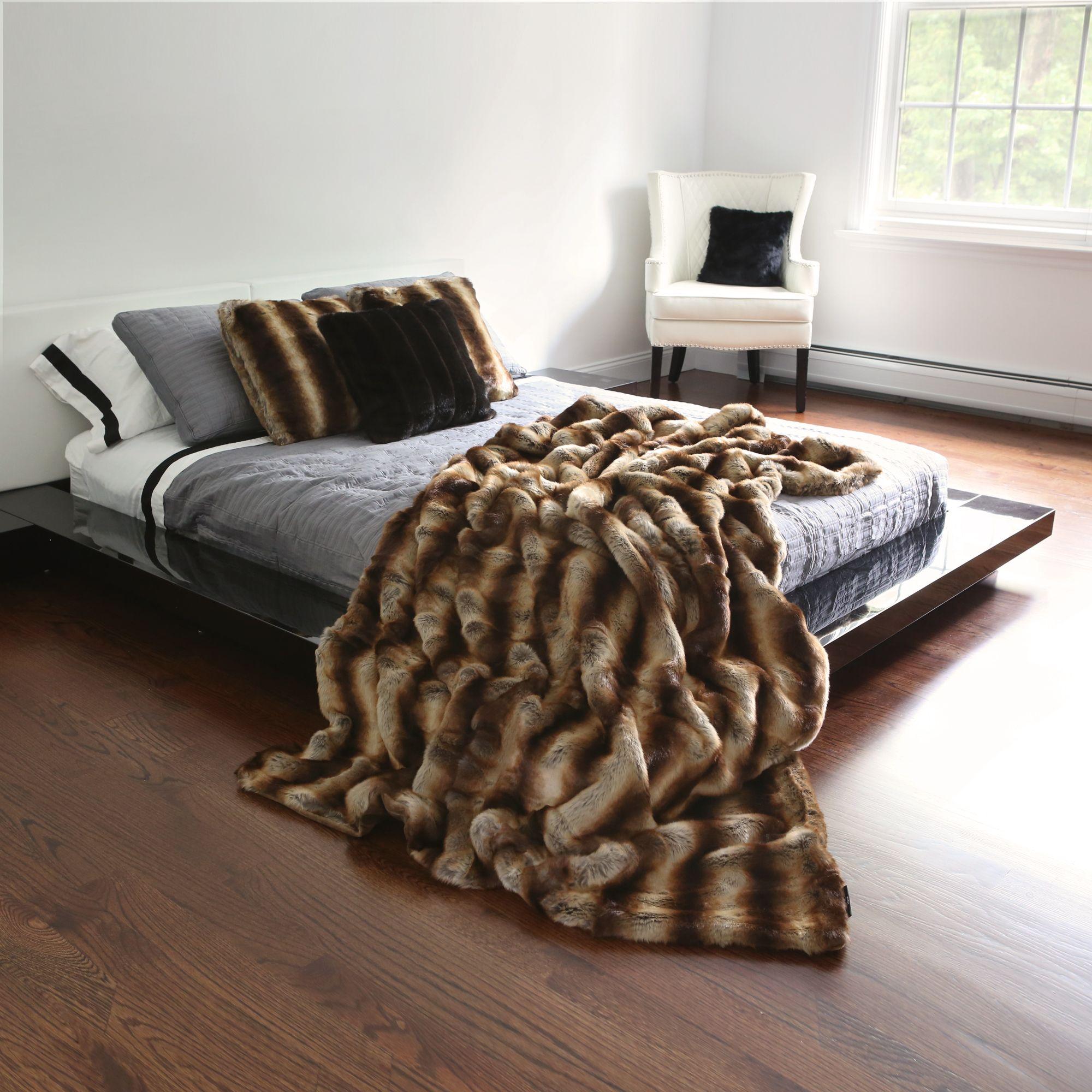 fur bed throw luxury bedding product faux throws indigo