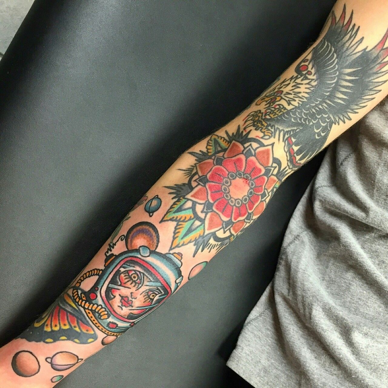 American Traditional Tattoo sleeve by Mark James at