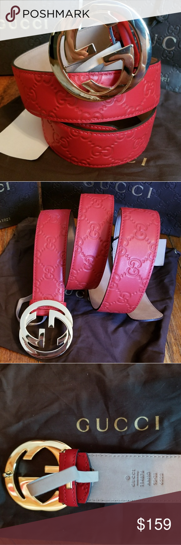 31600ecc1 😍Authentic Gucci Belt Red Guccissima Print 😍Authentic Gucci Belt Red  Guccissima Print with Gold GG Buckle. Nice. Includes tags, dust bag and box.