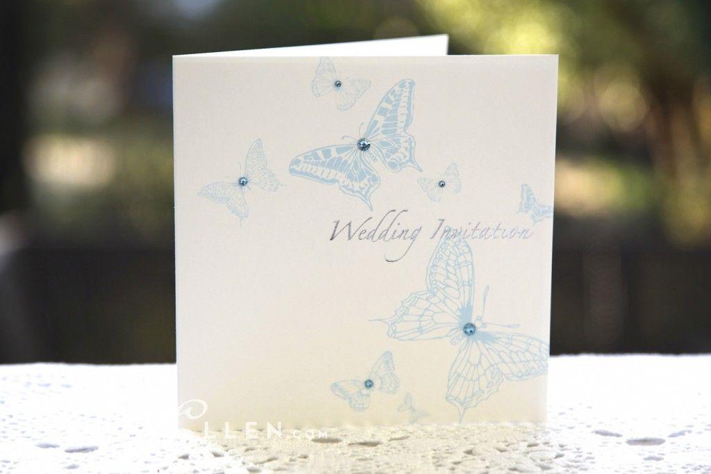 Ivy Ellen butterfly love wedding invitation blue | light blue ...
