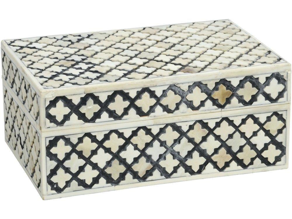 Black Decorative Box Black And White Textured Decorative Bone Box