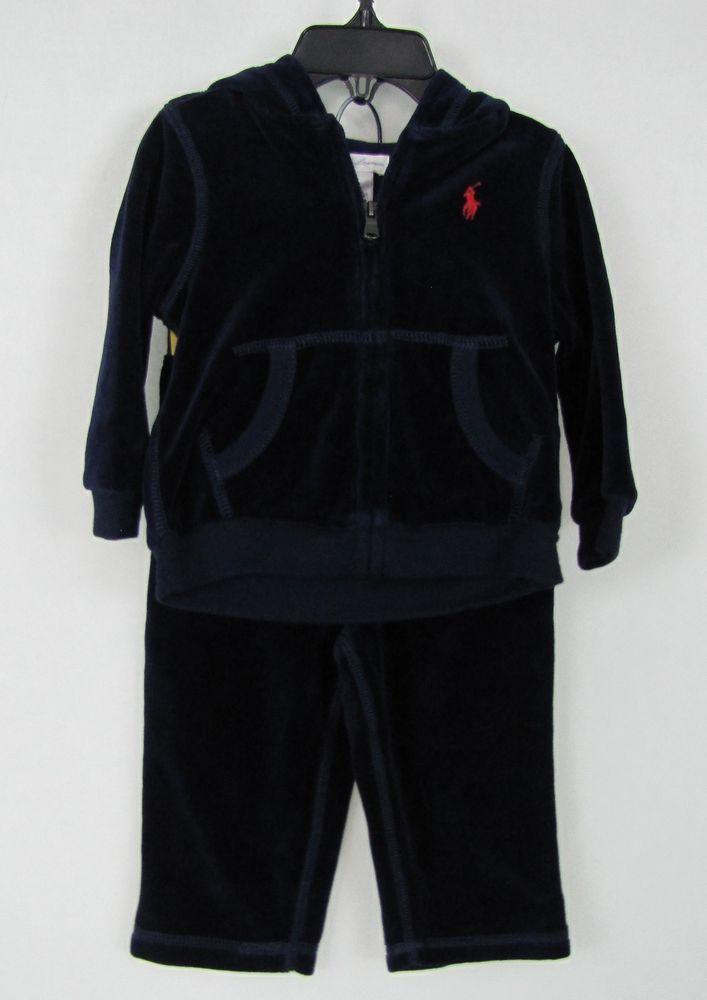 99b7388f49c0 Ralph Lauren baby boys 2 piece set velour hoodie and pants size 9M ...