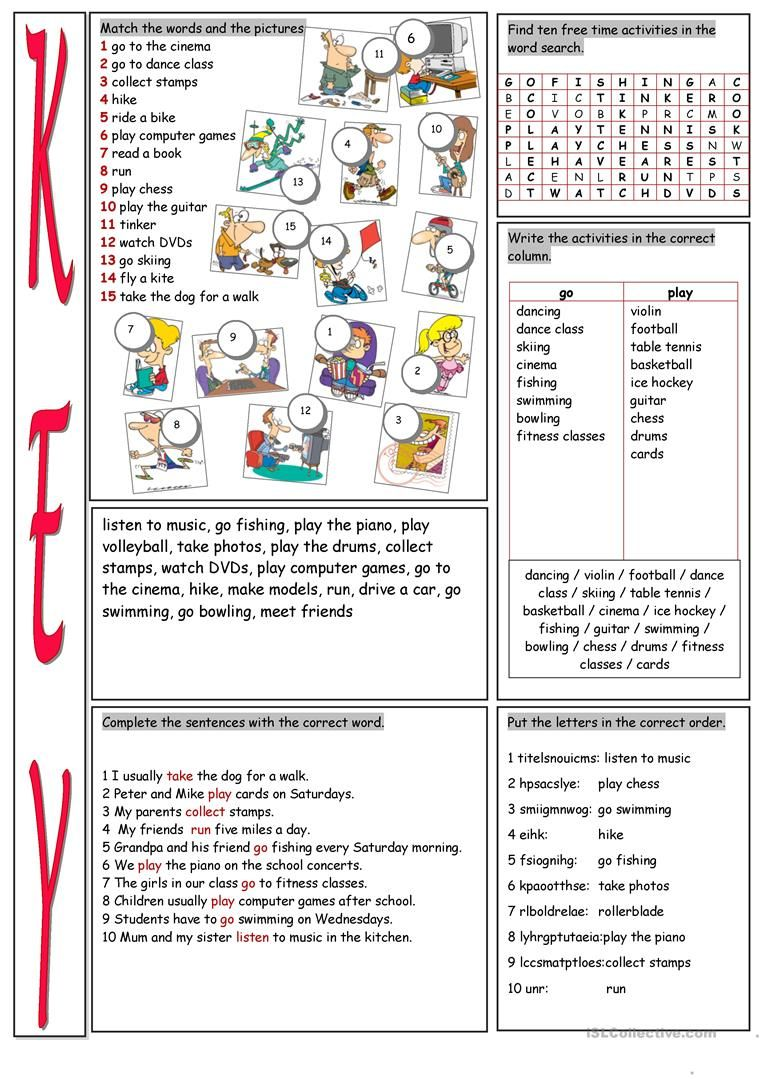 Free Time Activities Vocabulary Exercises Worksheet Free