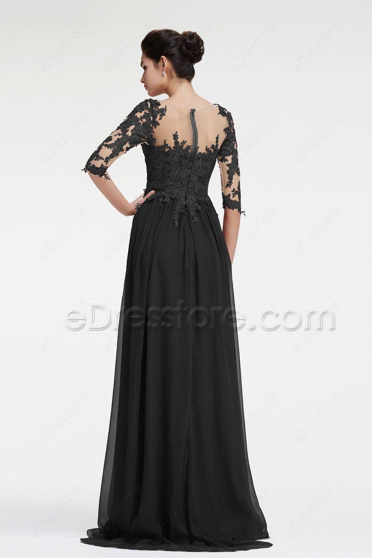 Black long sleeve prom dress with slit black prom dresses chiffon
