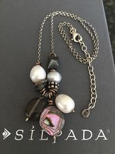 Silpada N2202 Sterling Silver Pearl Hematite Abalone Brass Necklace MINT!