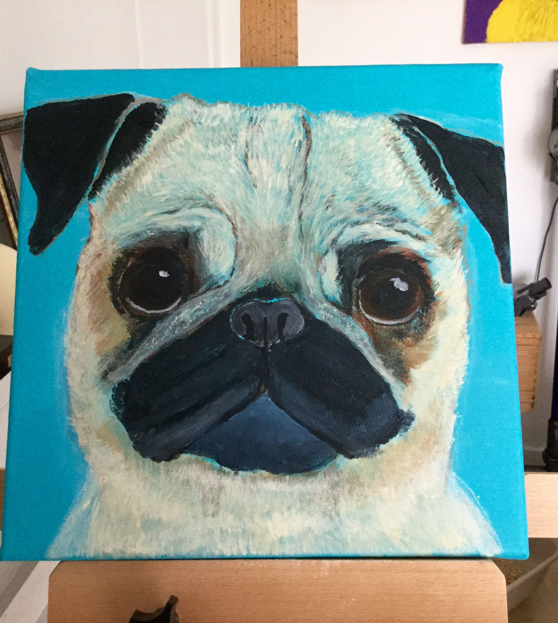 Acrylic On Canvas Pug By J Bruguera Hotmail Co Uk Happy To Take