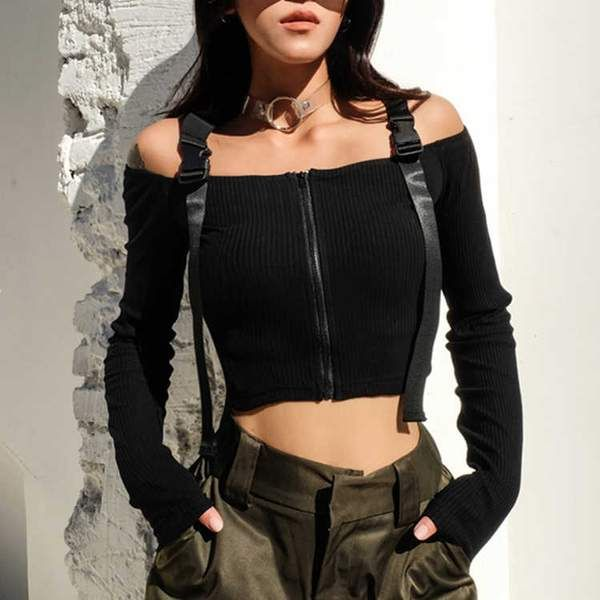 ad44ae14f6b060 Material: Spandex,Cotton,Polyester Off-Shoulder Slash Neck Straps With  Buckles We