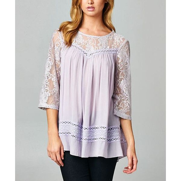 Esley Collection Lavender Sheer Lace Contrast Three-Quarter Sleeve Top ($30) ❤ liked on Polyvore
