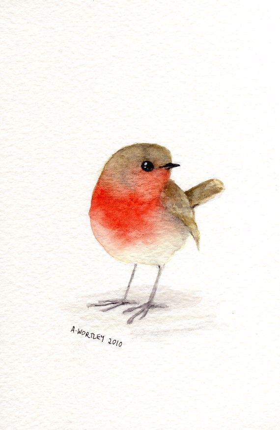Rotkehlchen Original Aquarell von Wildsunart Etsy auf Vogel Knöchel Tattoo von …
