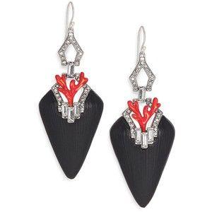 Alexis Bittar Coral Deco Lucite, Crystal & Enamel Baguette Drop Earrings/Black