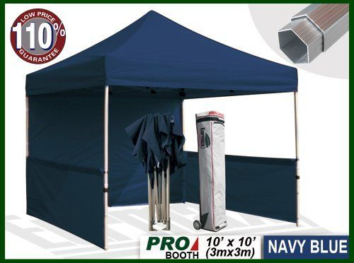 Eurmax Profession Ez Pop Up Canopy Booth Bonus Awning And 4weight Bag 10x10 Feet Navy Blue Full Aluminum Frame With 2 1 4 I Canopy Canopy Frame Weight Bags