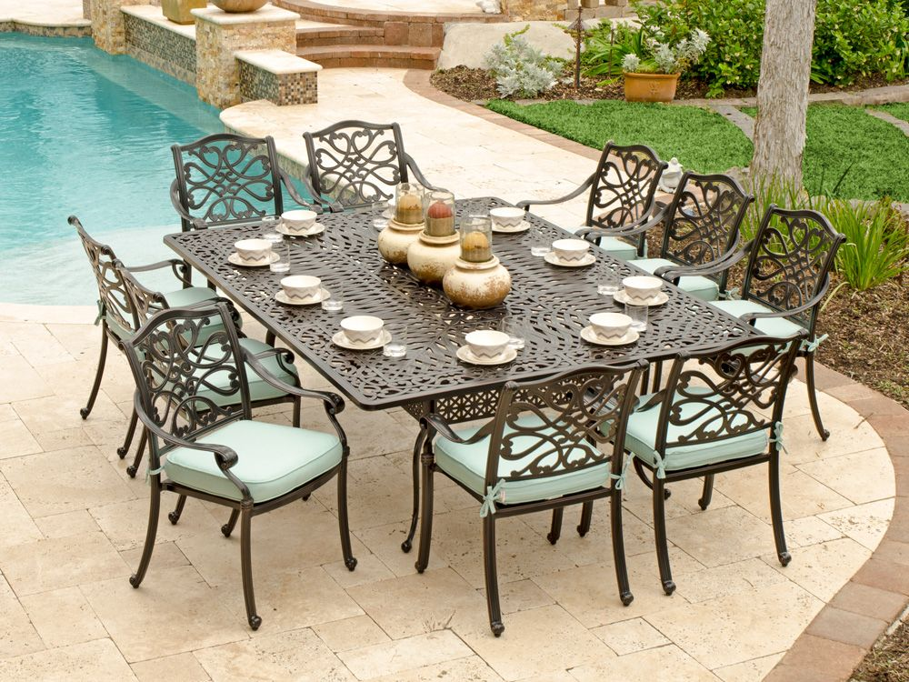 Orleans 11 Pc. Cast Aluminum Dining Set With 88 X 64 Rectangular Table