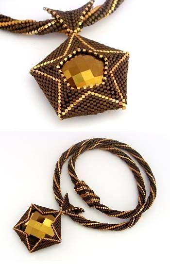 Geometric 1-9-1 Necklace Pattern by Jean Power