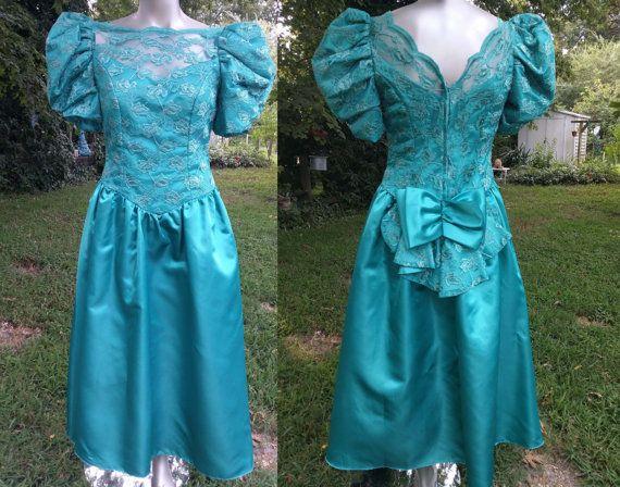 80s Prom Dress/ 80s Bridesmaid Dress/ Lace Dress/ 80s Dress with ...