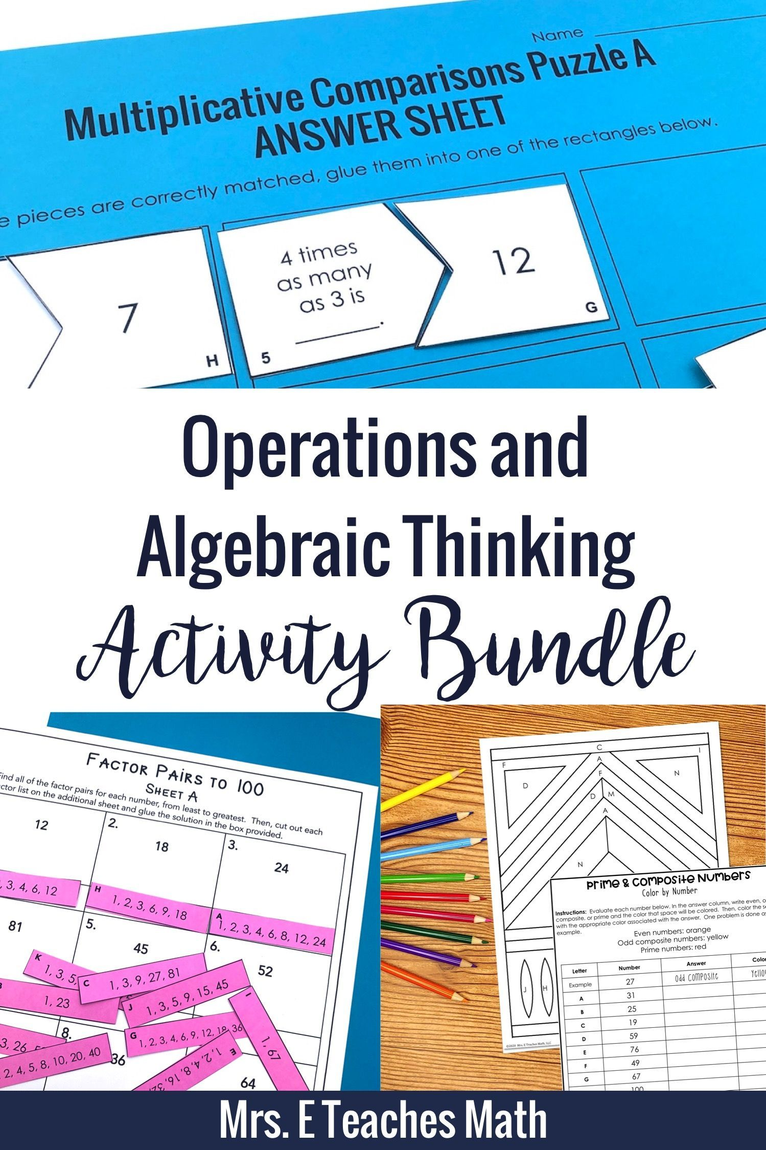 hight resolution of Operations and Algebraic Thinking Activity Bundle 4.OA   Algebraic thinking