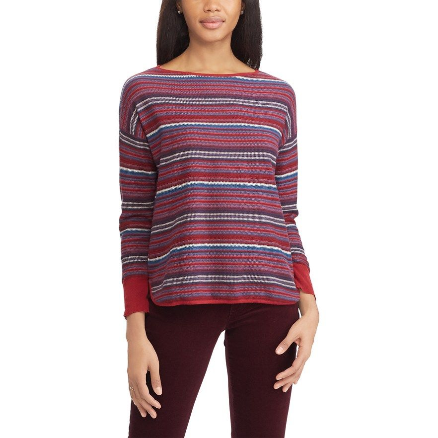 Chaps Women Buttoned Striped Scoop Neck Sweater Long Sleeves