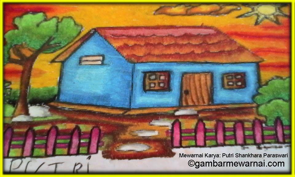 Gambar Mewarnai Rumah Karya Sang Juara Draft Mewarnai Drawing