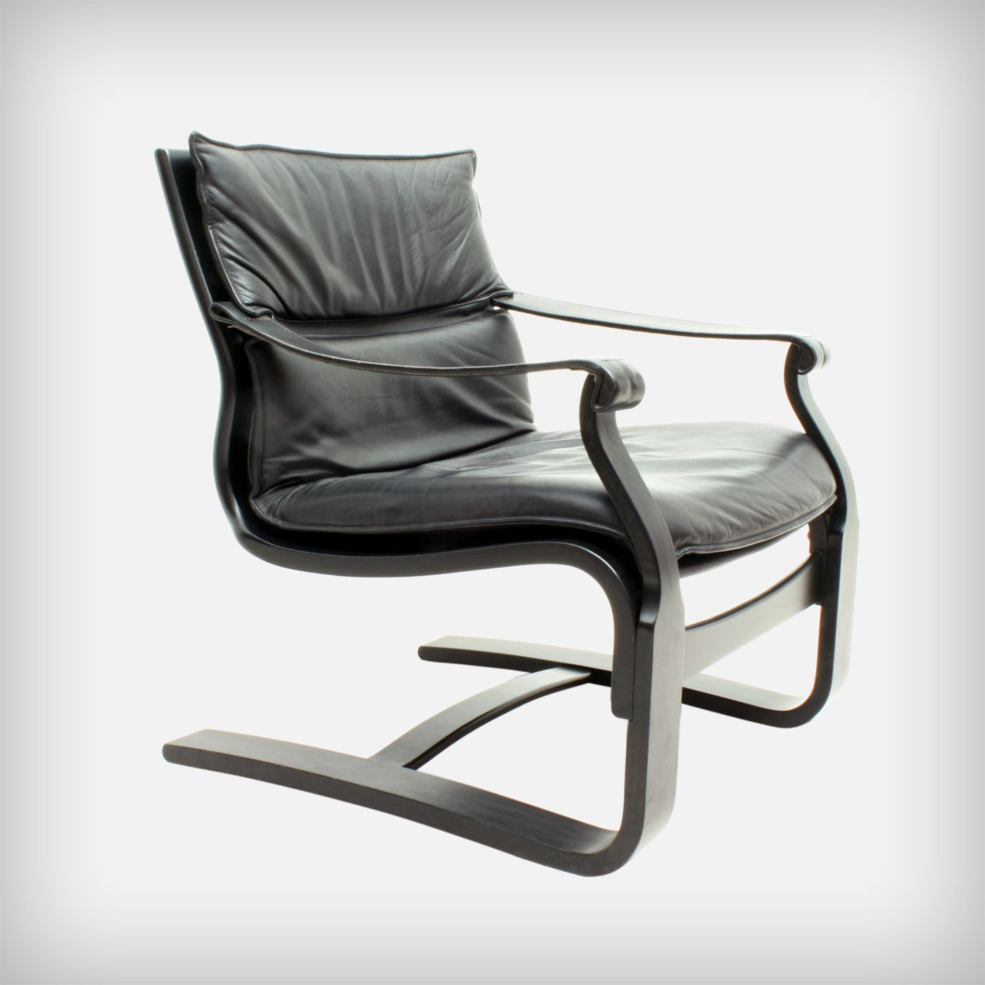 Black Plywood & Leather Lounge Chair by …ke Fribytter for Nelo