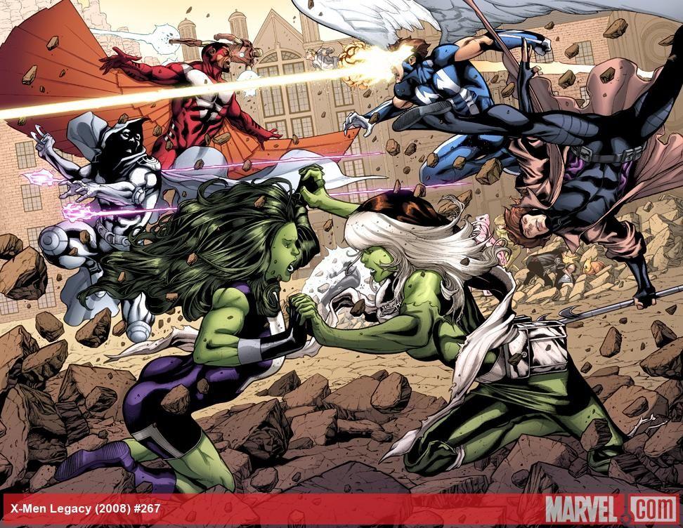 Avengers Vs X Men Battle She Hulk Rogue Falcon Cannonball Iron Man Gambit Moon Knight Mimic Comics Avengers Shehulk