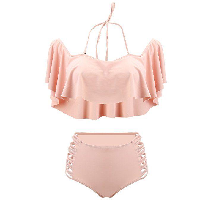 UTOVME Femmes Maillots de Bain à Volants Bikini 2 Pièces Taille Haute avec Soutien gorge Rembourré Rose L Le Moins Cher Prix Pas Cher LzqFU