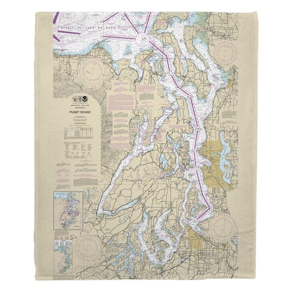 Wa Puget Sound Wa Nautical Chart Blanket Nautical Chart Prints Wall Art Prints