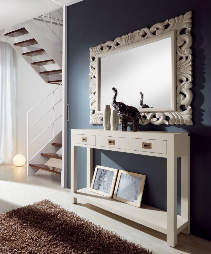 Consola y espejo de estilo colonial estilo de espejos for Espejo grande recibidor
