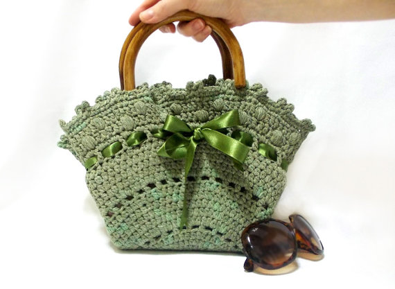 Crochet Bag Handmade Tote Bag Midi Bag Purse Green Handbag Medium Handbag Wooden Handle Crochet Tote Bag Orme Cantalar Cantalar Ve Bag