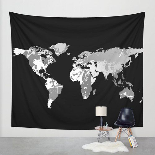 Could recreate this with a cutout of the land with poster board dark monochromatic world map wall tapestry wall hanging world map decor home gumiabroncs Choice Image