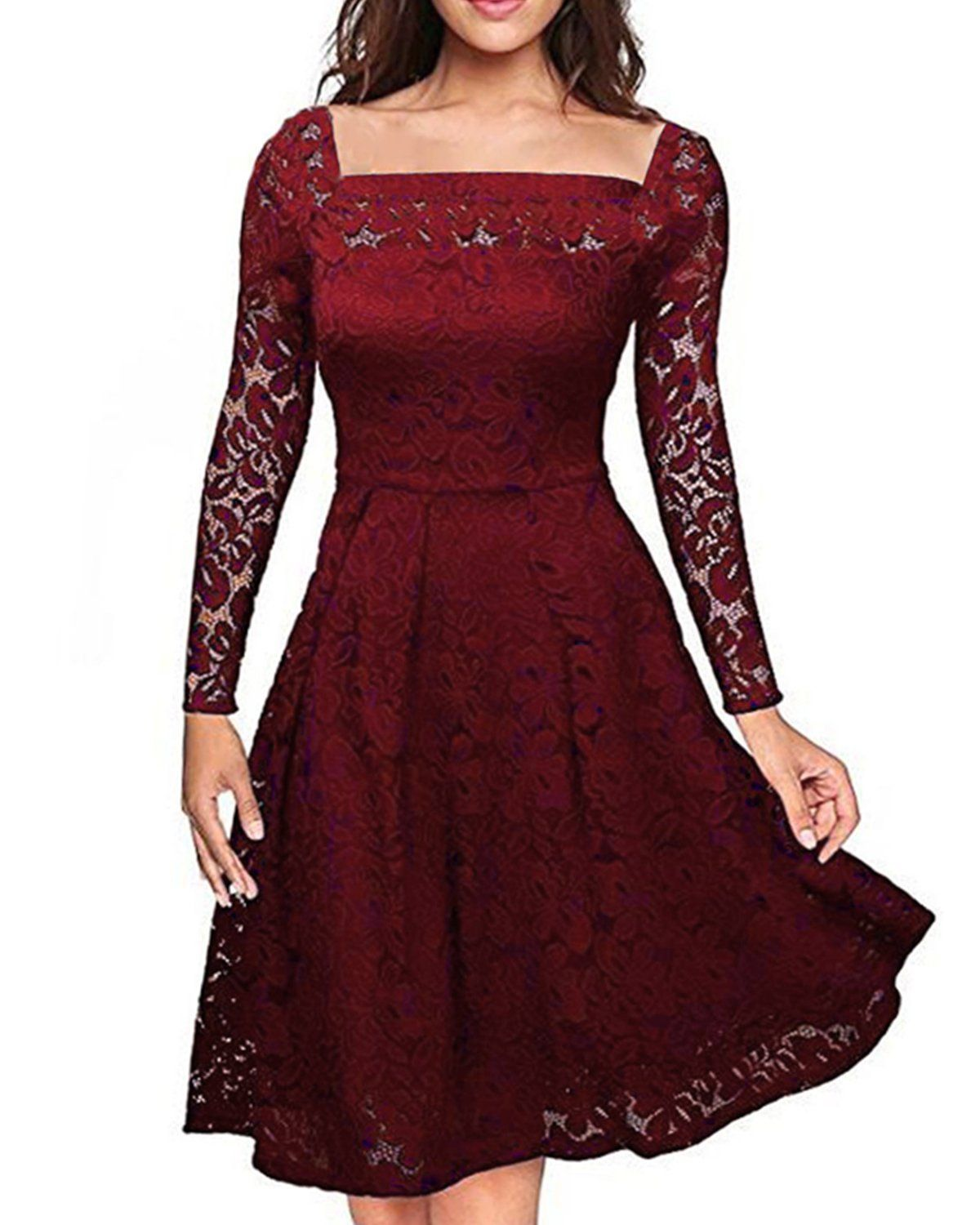 Auxo Womens Vintage Floral Lace Long Sleeve Semi Formal Swing ...