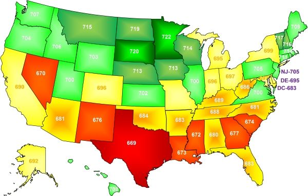 2008 Experian PLUS Credit Score by State from