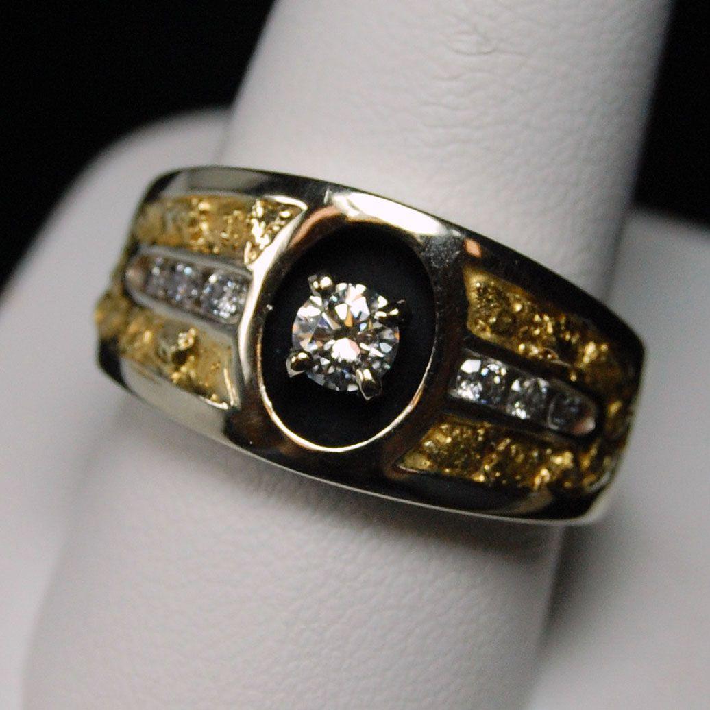 Diamond Nugget Mens Ring - 14k White GoldHytrek\'s Jewelers | my ...