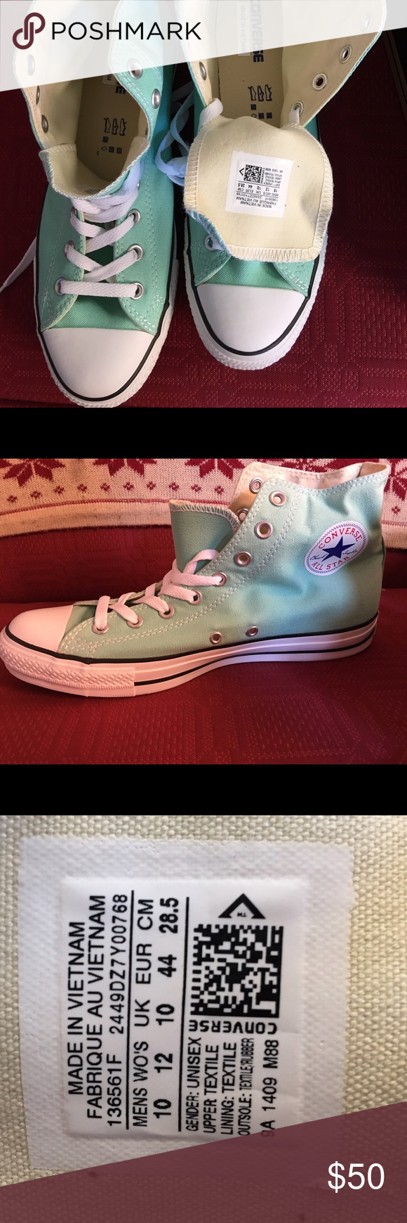 Mint green converse - brand new! Never ever worn, brand new still in box! Men's or women's! Converse Shoes Sneakers