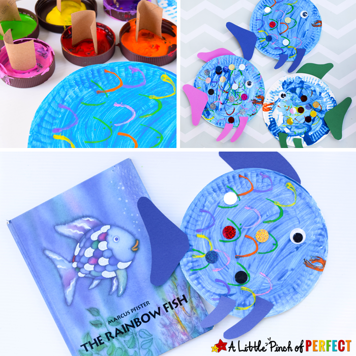 Paper Plate Fish Craft Inspired by The Rainbow Fish a perfect read and craft book  sc 1 st  Pinterest & Paper Plate Fish Craft Inspired by The Rainbow Fish - | Paper plate ...