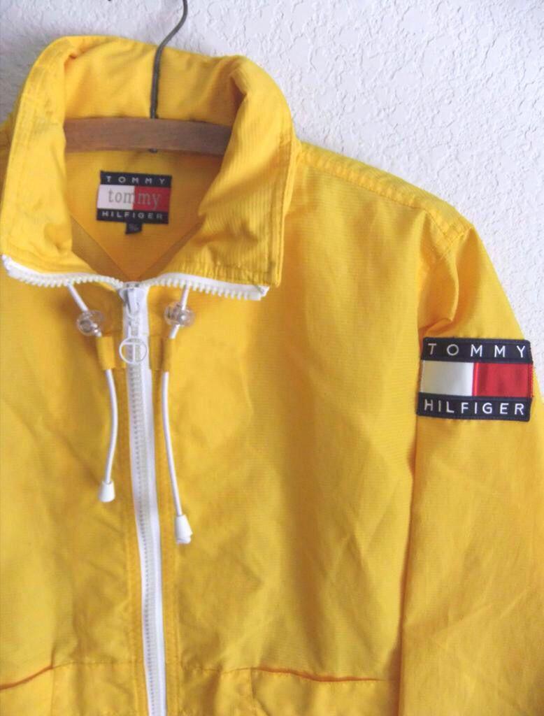 bf3bd1bb46454 90s Tommy Hilfiger Anorak Raincoat Club Kid Yellow Textured Tommy Hilfiger  Windbreaker