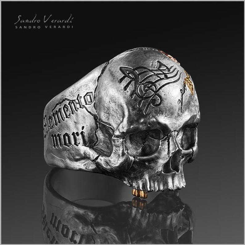 Skull Ring Silver Biker Mens Vanitas Memento mori by SANDRO VERARDI //R014