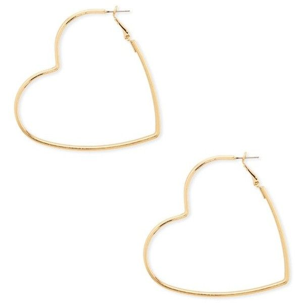 Forever21 Heart Hoop Earrings 3 90 Liked On Polyvore Featuring Jewelry Gold Forever 21 Polish