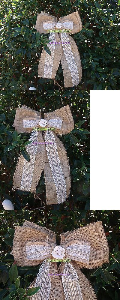 Ribbons and Bows 20941: Burlap Hessian Wedding Party Table Pew Bows - Bulk X 10 - Lace And Rose Detail -> BUY IT NOW ONLY: $69.95 on eBay!