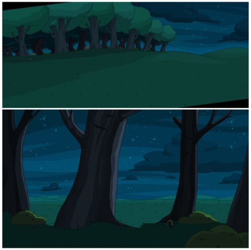 So, Ive been working on Adventure Time since September of last year as a background designer, and the shows I worked on are finally starting to air! What does that mean? It means I can start posting the work Ive done. The season premiere of season 4, Hot to the Touch was my first episode and I only did a few backgrounds. Here are a couple of them for you to enjoy. The episode's background designers were ghostshrimp, Santino Lascano, and myself. The painters were Marti
