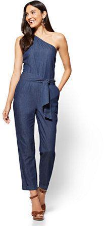 b770a7ca3c6a Would love a denim jumpsuit! The One-Shoulder makes it even cuter ...