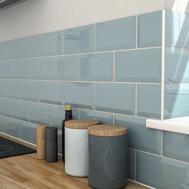 This Wall Tile Is Ideal For Bathroom Shower Walls Kitchen Blue Kitchen Tiles Wall Tiles Grey Wall Tiles