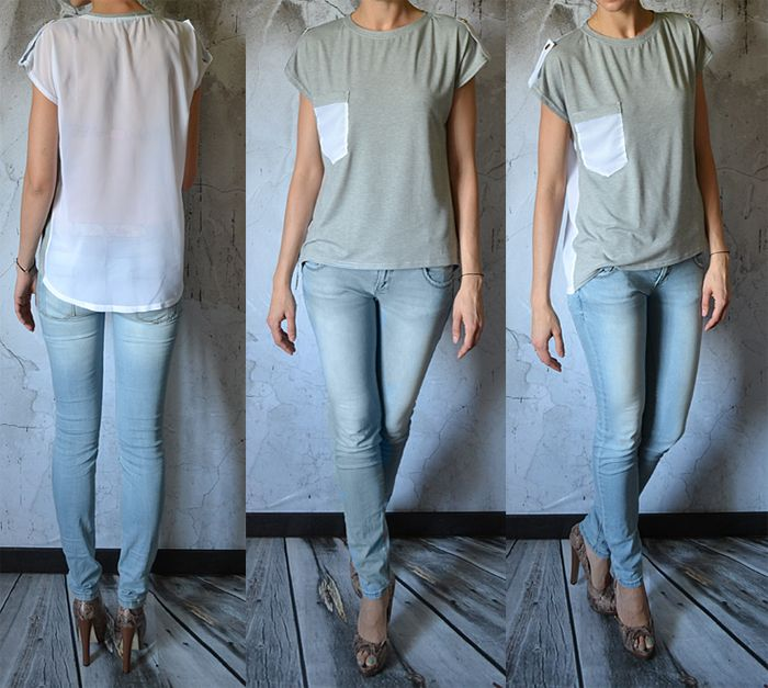 Asymetryczna Bluzka Mgielka Szyfon Lato Oversize 2368604299 Oficjalne Archiwum Allegro Grey Jean My Style Style