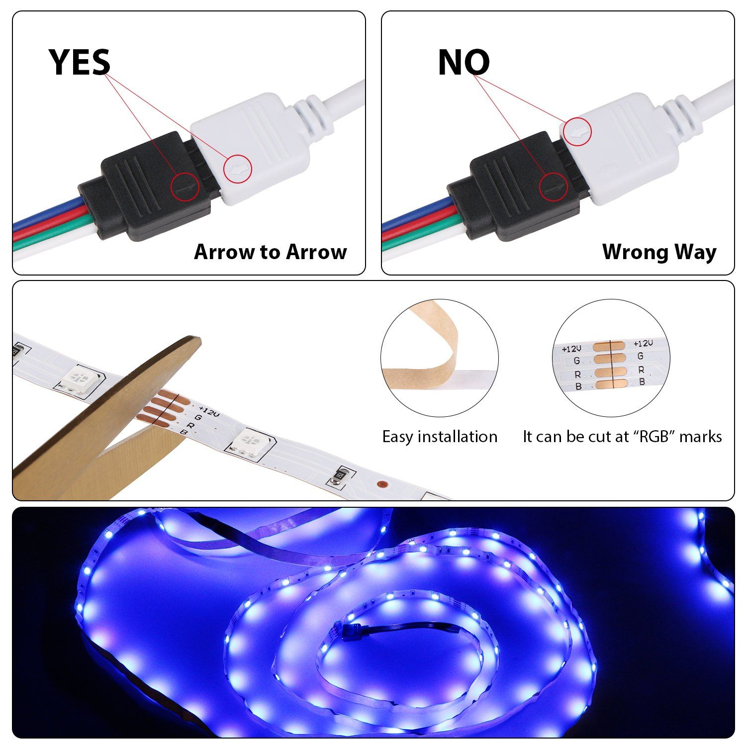 Relohas Led Strip Light16 4ft Waterproof Led Flexible Light 150 Units Smd 5050 Leds 12v Dc Waterproof Led Christmas Decorations Handmade Christmas Decorations
