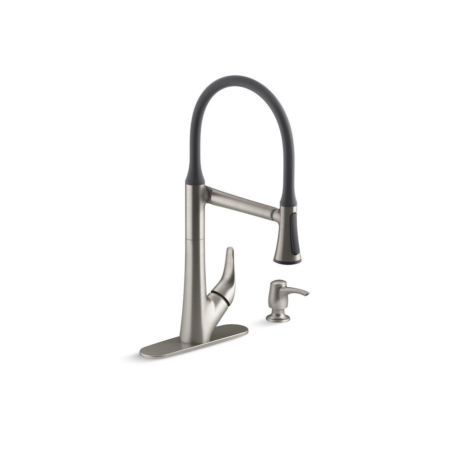 shop kohler arise vibrant stainless 1 handle deck mount pull down kitchen faucet at lowescom - Lowes Faucets Kitchen