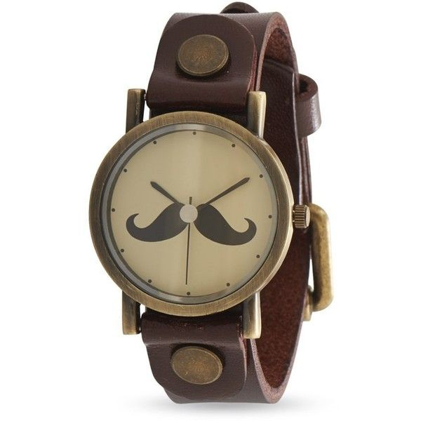 Leather Fashion Watch with Mustache Design (140 BRL) ❤ liked on Polyvore featuring jewelry, watches, leather jewelry, mustache jewelry, leather watches, leather wrist watch and moustache jewelry